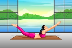 vector illustration of lady practising yoga for wellness