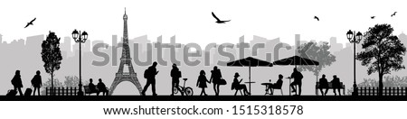 Vector illustration of landscape and city street scene with people and Eiffel Tower on background in Paris, France stock photo