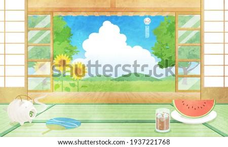 Vector illustration of landscape seen from the veranda of summer (watercolor) Stock photo ©