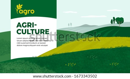 Vector illustration of landscape with agricultural fields. Design for farming company with crops, farm, cultivated land. Template with agriculture for banner, layout, flyer, booklet, brochure, web, ad