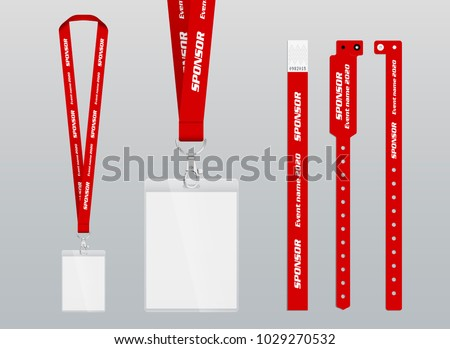 Vector illustration of lanyard and bracelets for identification and access to events. Security and control elements. Lanyards and bracelets with place for sponsor and name of the event. Design in red