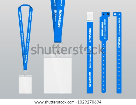 Vector illustration of lanyard and bracelets for identification and access to events. Security and control elements. Lanyards and bracelets with place for sponsor and name of the event. Design in blue