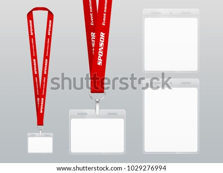 Vector illustration of lanyard. Red ribbon. Labels of different sizes. Lanyard with plastic label. Place for branding design