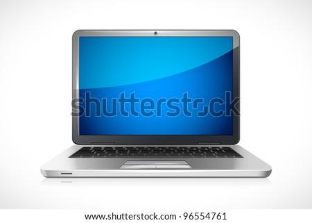 vector illustration of laptop against white background