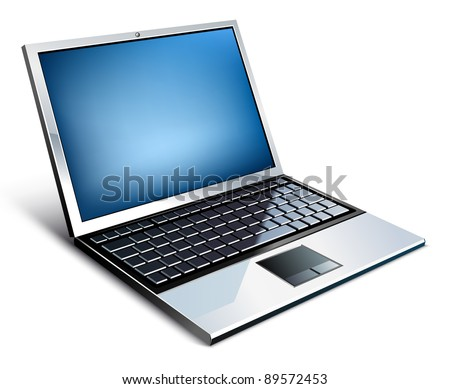 Vector illustration of laptop on white background