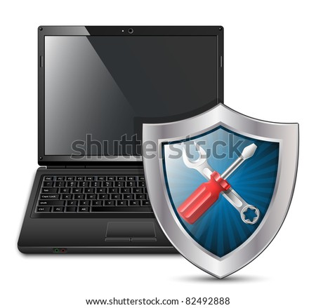 Vector illustration of laptop with service icon