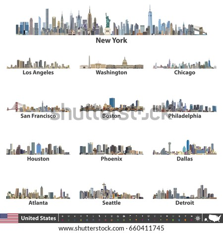 vector illustration of largest United States city skylines. Navigation, location and travel icons; flag and map of United States of America