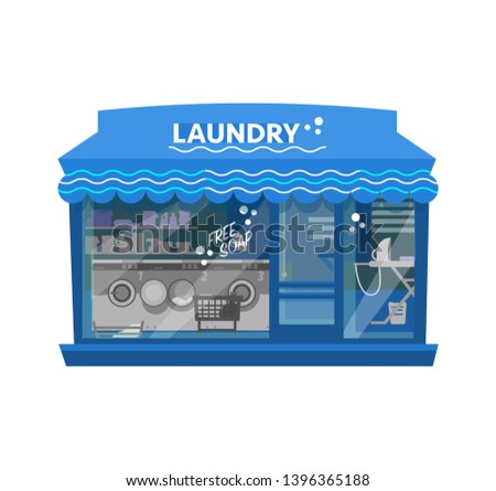 Vector illustration of laundry building with awning and logo . Laundry exterior. Washing machines, laundry detergents, iron, baskets with linen. Flat style.