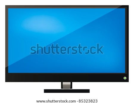 vector illustration of LCD tv, screen or monitor isolated over white background