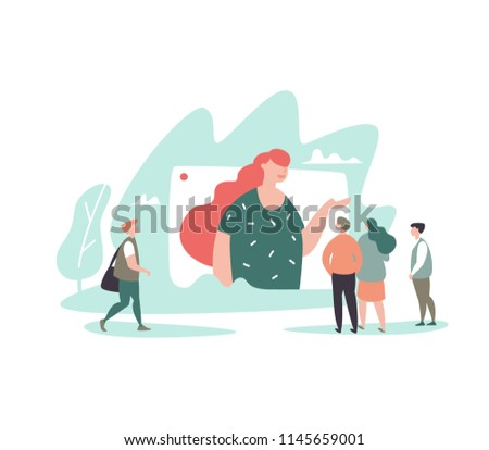 Vector illustration of leader woman with target audience. Concept target market, sales generation, audience outreach, blogging