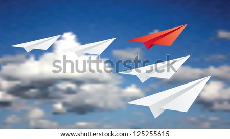 Vector illustration of leadership concept with paper planes.