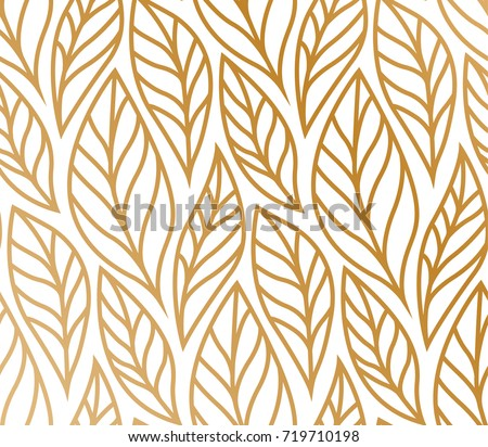 Vector illustration of leaves pattern. Floral organic background. Hand drawn leaf texture. #719710198