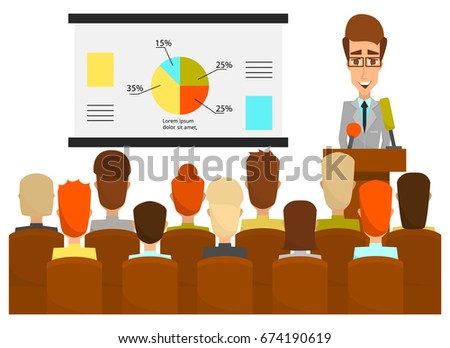 Vector illustration of lecturer male giving presentation, lecture or seminar to the audience. Conference, business workshop, training class. Speaker flat style design element.