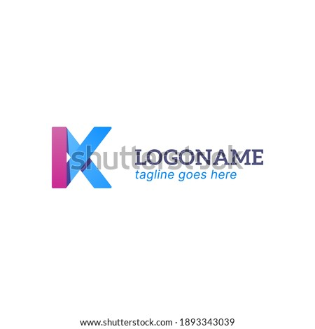 vector illustration of letter K logo with pink and blue gradient color. simple 3d style with shadow. good for any company. Stock fotó ©