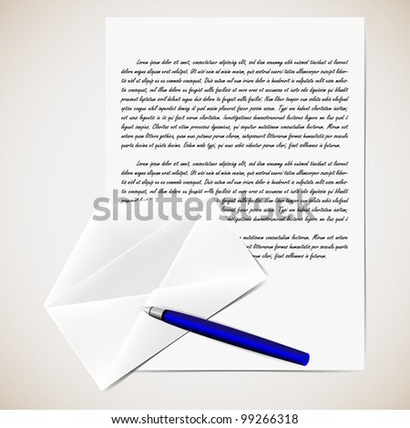 Vector illustration of letter with opened envelope and pen. Background in separate layer.