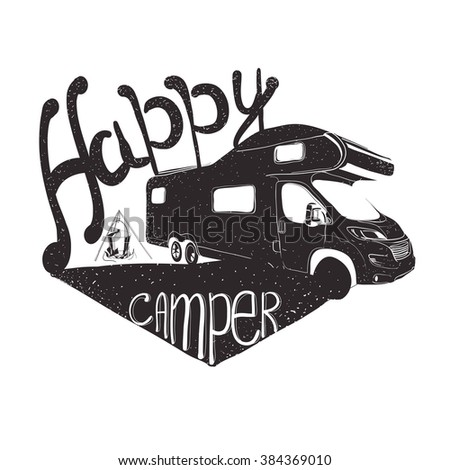 Vector illustration of lettering travel, typographic, camp calligraphy, silhouette tent, camping.
