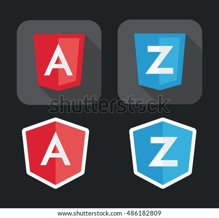 vector illustration of light red and blue shield with A Z letters for javascript framework on the screen