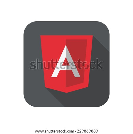vector illustration of light red shield with A letter for javascript framework on the screen