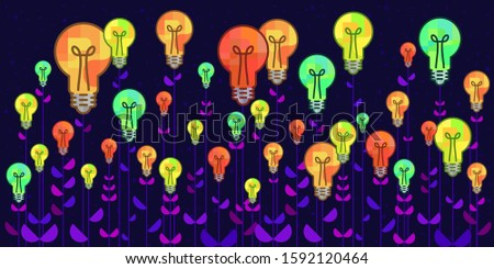 vector illustration of lightbulbs growing as flowers for creativity skills and unusual ideas production