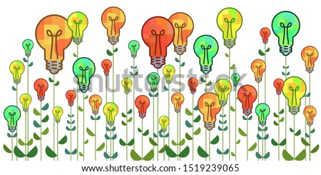 vector illustration of lightbulbs growing as flowers for creativity skills development and good ideas production