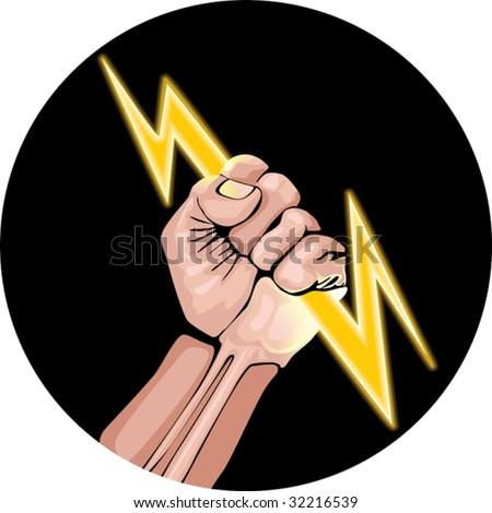 Vector illustration of lightning in the hand.