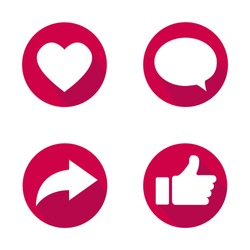 Vector illustration of like, comment and share icons. Social nets and applications signs. White icons on a red background