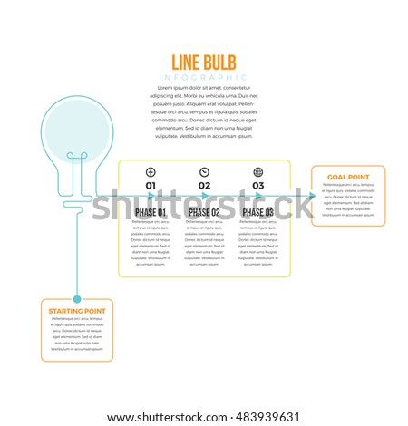 Stock Photo Vector illustration of line bulb infographic design element.