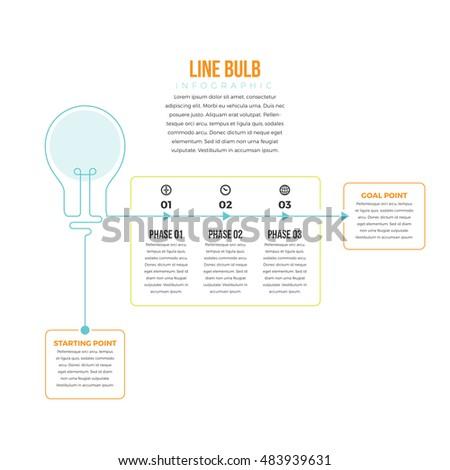 Stock Photo Vector illustration of line bulb infographic design element.