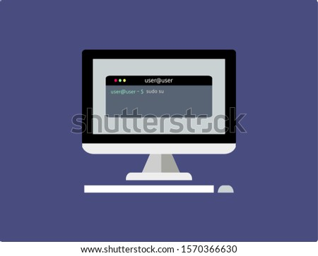 Vector illustration of linux command to superuser on a screen Foto stock ©