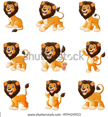 Vector illustration of  Lion cartoon set collection