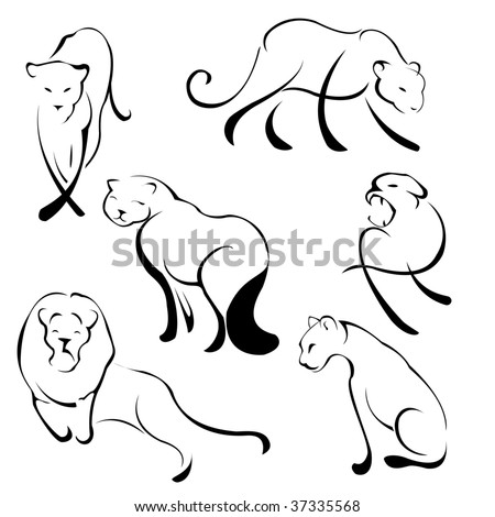 Vector illustration of Lion Design Set made with simple line only