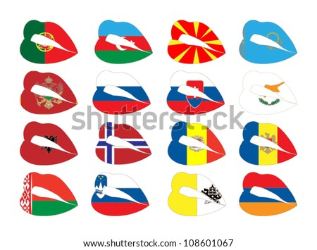 Vector illustration of lips on flags.