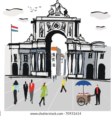 Vector illustration of Lisbon city square with old archway, Portugal.
