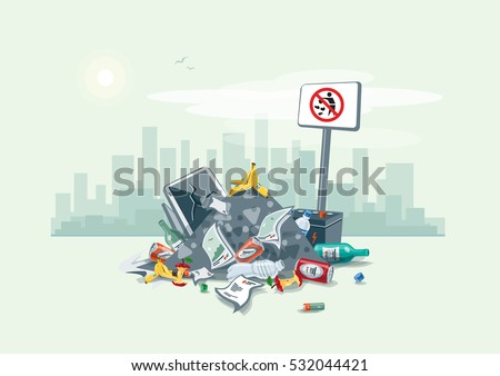 Vector illustration of littering waste pile disposed on the street exterior with city skyscrapers skyline in the background. Trash is fallen on the ground and creates a big stack, cartoon style.