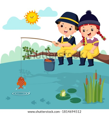 Vector illustration of little happy boy and girl sitting on the branch and fishing in a pond. Fisherman kids. Сток-фото ©