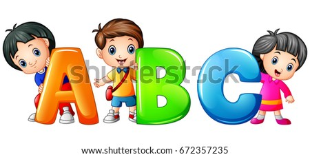 Vector illustration of Little kid holding ABC letter isolated on white background