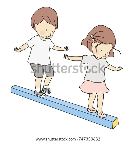 Vector illustration of little kids, boy and girl, playing balance beam. Early childhood development activity, education and learning concept.