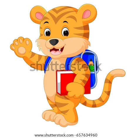 vector illustration of little tiger goes to school