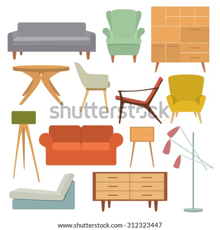vector illustration of living room furniture in mid century modern style beautiful design elements furniture in style