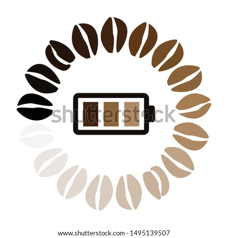 vector illustration of loading coffee beans and charged battery for caffeine power visuals