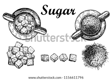 Vector illustration of logo for theme set sweet crystal sugar and sugar in bulk  white background. Sugar, ingredient for coffee,tea. Refined white sugar.