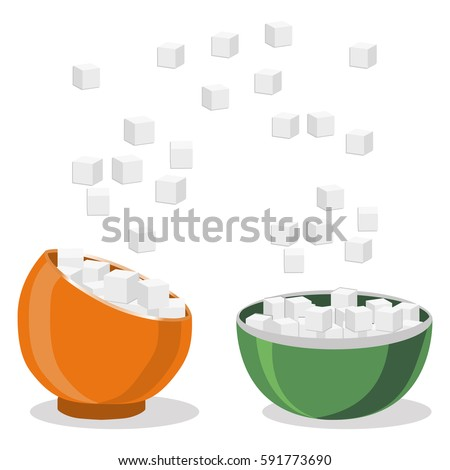 Vector illustration of logo for theme set sweet crystal sugar in two bowls on white background.Sugar pattern consisting of bowl with flying gray cubes,ingredient for coffee,tea.Eat fresh cube sugars.