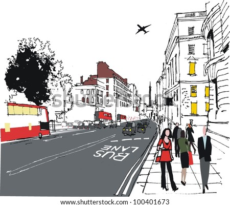 Vector illustration of London city street with pedestrians