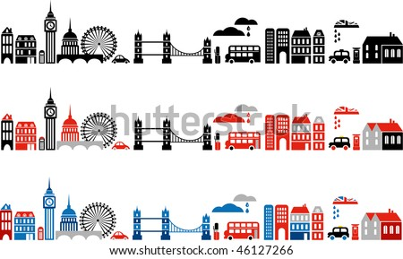 Vector illustration of London with colorful icons of double-deck buses and landmark buildings