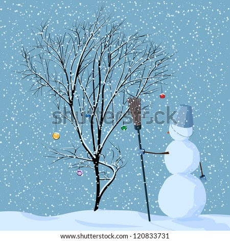 Vector illustration of lonely snowman near tree in snow with Christmas balls under snowfall. - stock vector