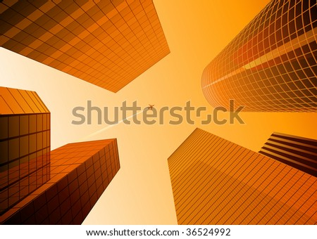 Vector illustration of Looking up at skyscrapers in the orange city and airplane in the sky