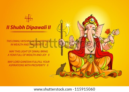 vector illustration of Lord Ganesha for Deepawali