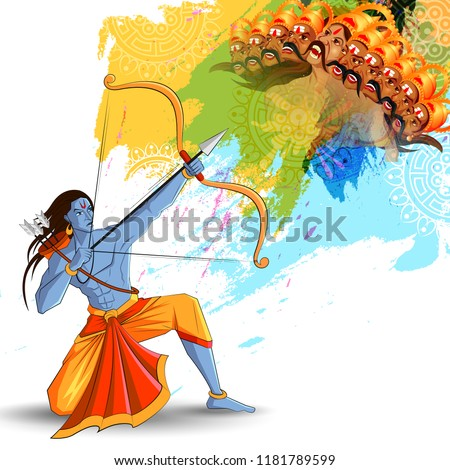 vector illustration of Lord Rama killing Ravana in Happy Dussehra festival of India