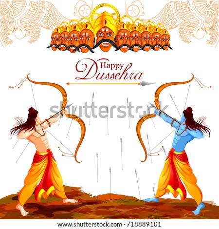 vector illustration of Lord Rama killing Ravana in Happy Dussehra festival of India