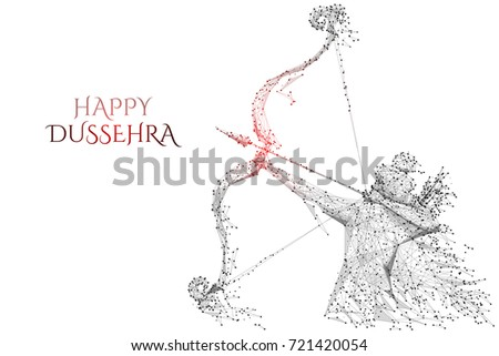 Vector illustration of Lord Rama with arrow killing Ravana in Dussehra Navratri festival. Low Poly wireframe digital art on white background. Polygon abstract mash line and point origami with triangle